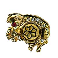 Damascene Gold Aries the Ram Zodiac Tie Tack / Pin by Midas of Toledo Spain style 5313